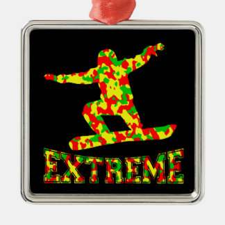 EXTREME SNOWBOARDER IN RED, GREEN, AND YELLOW CAMO Silver-Colored SQUARE ORNAMENT