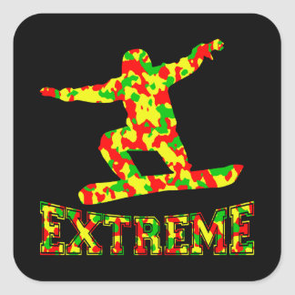EXTREME SNOWBOARDER IN RED, GREEN, AND YELLOW CAMO SQUARE STICKER