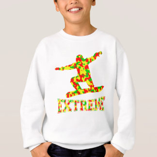 EXTREME SNOWBOARDER IN RED, GREEN, AND YELLOW CAMO SWEATSHIRT
