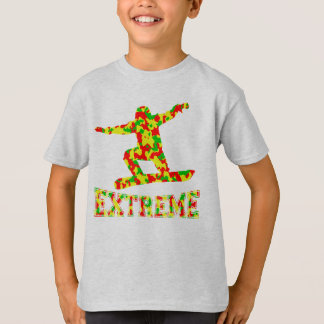 EXTREME SNOWBOARDER IN RED, GREEN, AND YELLOW CAMO T-Shirt