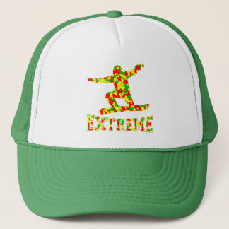 EXTREME SNOWBOARDER IN RED, GREEN, AND YELLOW CAMO TRUCKER HAT