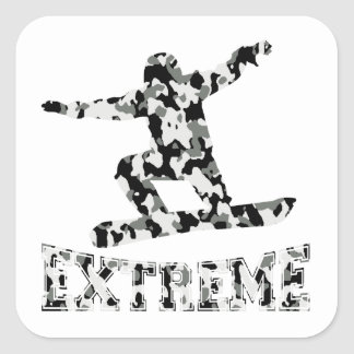 EXTREME SNOWBOARDER IN URBAN CAMO SQUARE STICKER