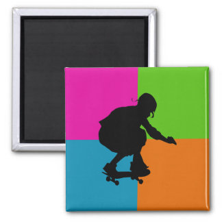 extreme sports - skateboard square magnet