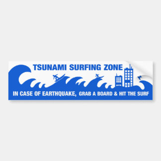 Extreme Tsunami Surfers Bumper Stickers