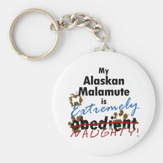 Extremely Naughty Alaskan Malamute Basic Round Button Keychain