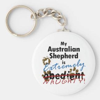 Extremely Naughty Australian Shepherd Keychain