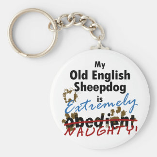 Extremely Naughty Old English Sheepdog Keychain