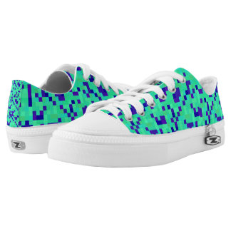 Extropix Blue and Green Patterns Low-Top Sneakers