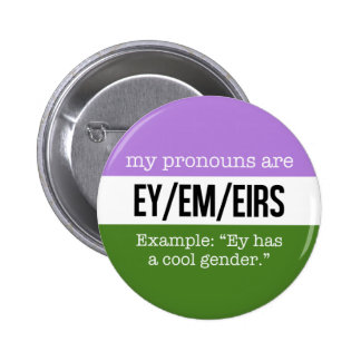 Ey/Em Pronouns –Genderqueer Flag 2 Inch Round Button