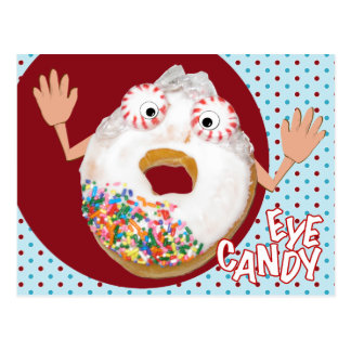 'eye candy'  humorous parody postcard