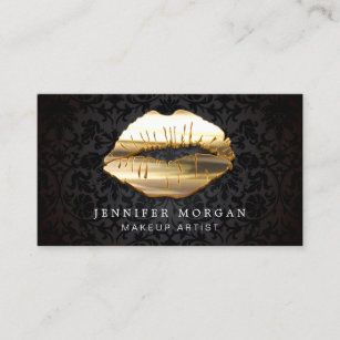 Makeup artist business cards business card printing zazzle ca eye catching 3d black gold lips makeup artist business card reheart Choice Image