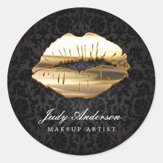 Eye Catching 3D Black Gold Lips Makeup Artist Classic Round Sticker