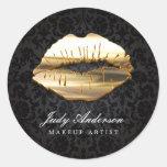 Eye Catching 3D Black Gold Lips Makeup Artist Round Sticker