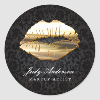 Eye Catching 3D Black Gold Lips Makeup Artist Round Sticker
