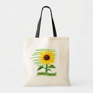 Eye Catching Bright Yellow Sunflower Personalized Tote Bag