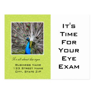 Eye Exam Appointment Reminder Peacock Eyes Postcard