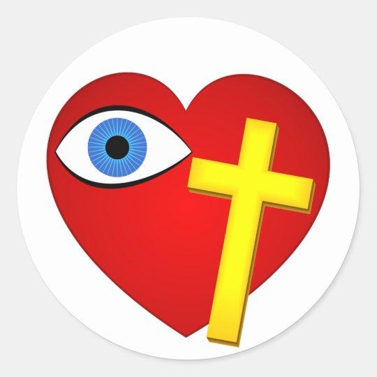 eye heart cross classic round sticker