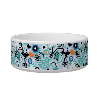 Eye heart pop art cool bright blue pattern bowl