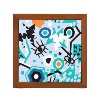 Eye heart pop art cool bright blue  pattern desk organizer