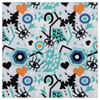 Eye heart pop art cool bright blue  pattern fabric