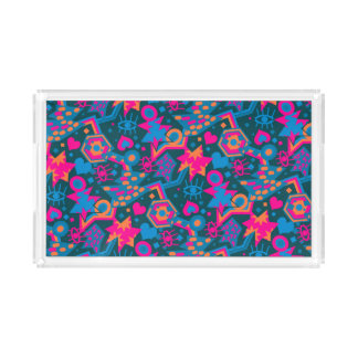 Eye heart pop art cool bright pink  pattern acrylic tray