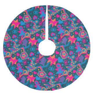 Eye heart pop art cool bright pink  pattern brushed polyester tree skirt