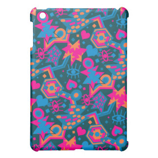 Eye heart pop art cool bright pink  pattern cover for the iPad mini