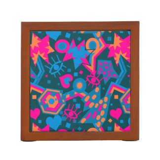 Eye heart pop art cool bright pink  pattern desk organizer