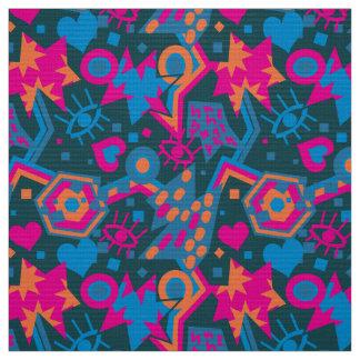 Eye heart pop art cool bright pink pattern fabric