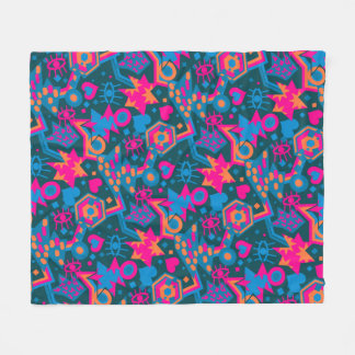 Eye heart pop art cool bright pink  pattern fleece blanket