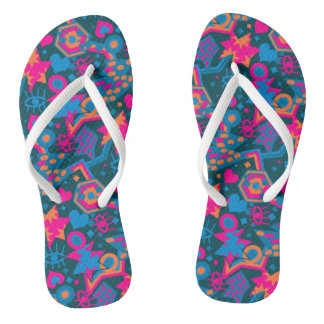 Eye heart pop art cool bright pink  pattern flip flops
