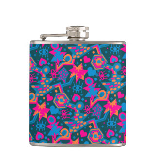 Eye heart pop art cool bright pink  pattern hip flask