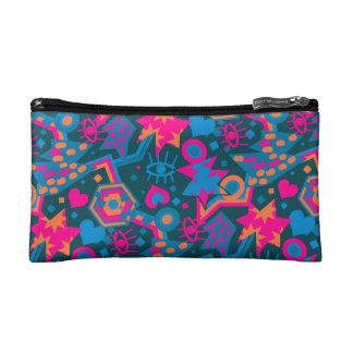 Eye heart pop art cool bright pink  pattern makeup bags