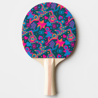 Eye heart pop art cool bright pink  pattern ping pong paddle