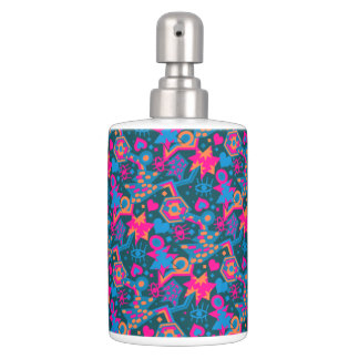 Eye heart pop art cool bright pink  pattern soap dispensers