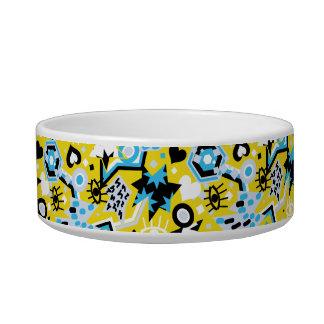 Eye heart pop art cool bright yellow pattern bowl