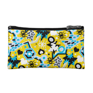 Eye heart pop art cool bright yellow pattern cosmetic bag
