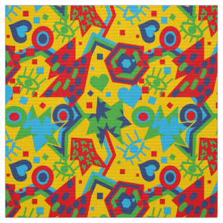 Eye heart pop art cool bright yellow  pattern fabric