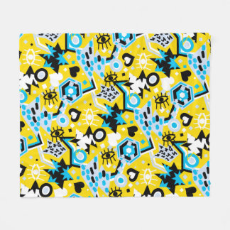 Eye heart pop art cool bright yellow pattern fleece blanket