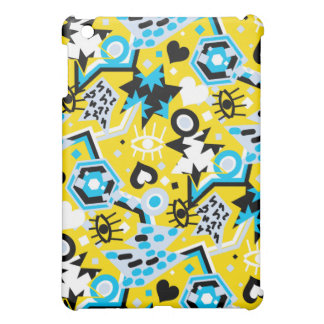 Eye heart pop art cool bright yellow pattern iPad mini case