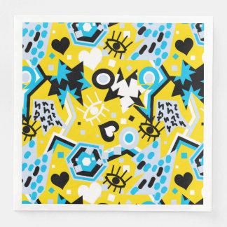 Eye heart pop art cool bright yellow pattern paper dinner napkin