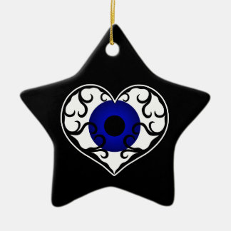 Eye heart star ceramic ornament