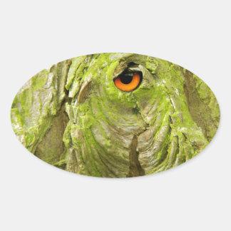 Eye in the Tree Bark Oval Sticker