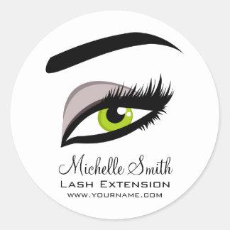 Eye long lashes Lash Extension company branding Classic Round Sticker