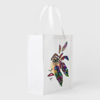 EYE Love FEATHERS Fantasy Art Reusable Grocery Bag