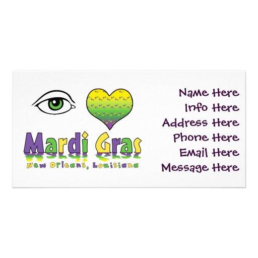 Eye Love Mardi Gras Photo Cards