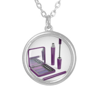 Eye make-up set silver plated necklace
