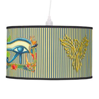 Eye of Horus and Phoenix on gold and lapis lazuli Pendant Lamp