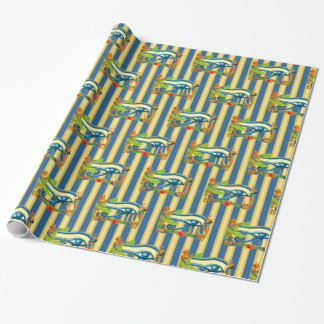 Eye of Horus on gold and lapis lazuli stripes Wrapping Paper