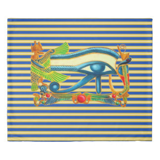 Eye of Horus Protection on gold and blue stripes Duvet Cover